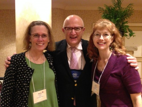 Nancy Carlson, Rocco from School Library Journal, and Laura Purdie Salas at the School Library Journal Summit in St. Paul, MN, 2014
