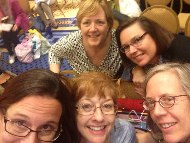 (clockwise from top) Catherine Flynn, Heidi Mordhorst, Mary Lee Hahn, Laura Purdie Salas, Tricia Stohr-Hunt (sacrificing her face for the group!)